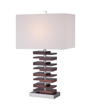 Shown in Walnut finish, Off White Linen glass and Fabric shade