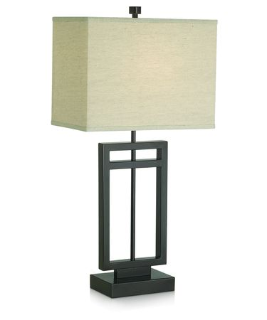 Shown in Bronze finish and Rectangle-Beige-Plain shade