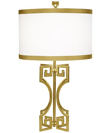 Shown in Gold Leaf finish and Shantung Fabric shade