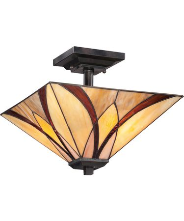 Shown in Valiant Bronze finish and Tiffany Style Art glass