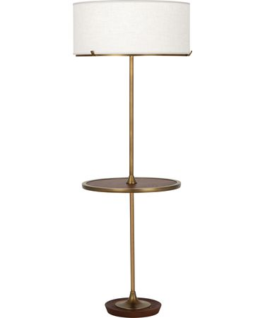 Shown in Aged Brass With Walnuted Wood Accent finish and Cream Brussels Linen With Self Fabric Top Diffuser shade