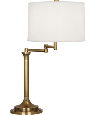 Shown in Antique Brass finish and Open Weave White Linen shade