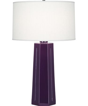 Shown in Polished Nickel-Amethyst finish and Oyster Linen shade