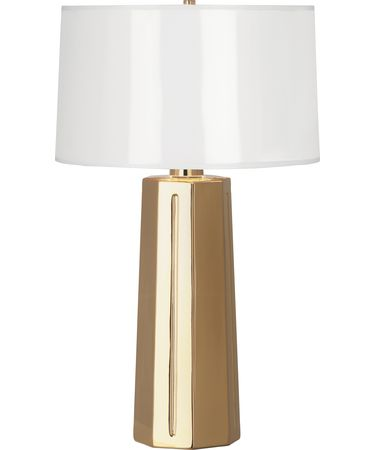 Shown in Polished Gold Glazed Ceramic finish and White Ceramik Parchment With Gold Mylar Lining shade