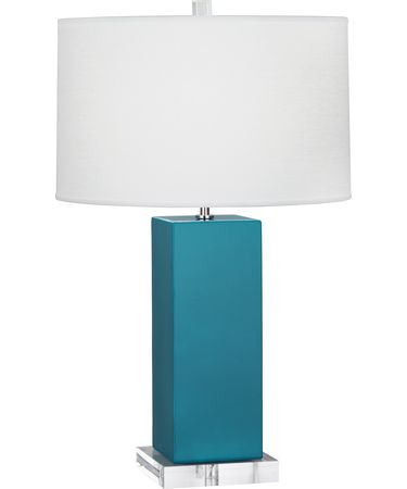 Shown in Polished Nickel-Peacock finish and Oyster Linen shade