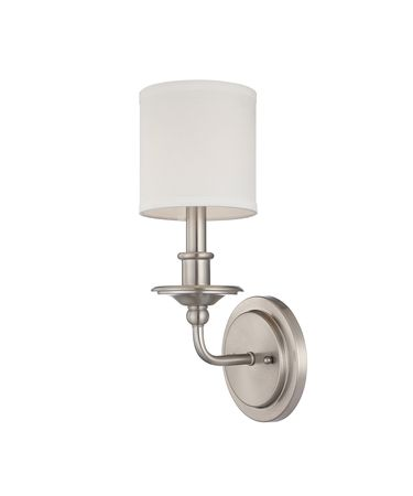 Shown in Polished Nickel finish and White Shade shade
