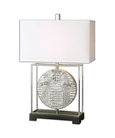 Shown in Metallic Silver-Polished Nickel-Black finish and Silken Off White Linen Fabric shade