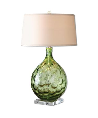 Shown in Green Bubble-Polished Nickel finish and Tan Linen Fabric shade