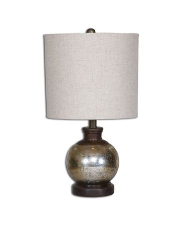 Shown in Aged Mongo Wood finish and Beige Linen shade