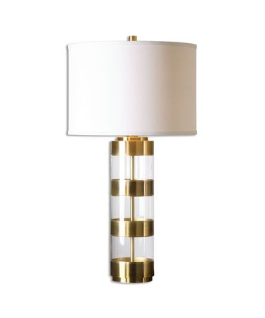 Shown in Brushed Brass finish, Light Beige shade and Clear Acrylic accent