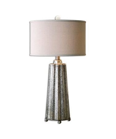 Shown in Brushed Nickel finish, Burnished Mercury glass and Light Beige shade