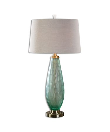 Shown in Antiqued Brass finish and Sea Green glass