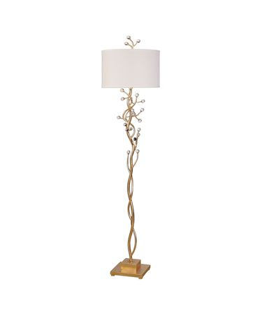 Shown in Gold Leaf finish and White Linen Fabric shade