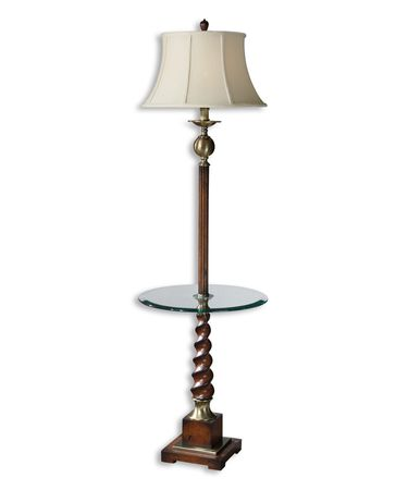 Shown in Wood finish and Round Bell shade