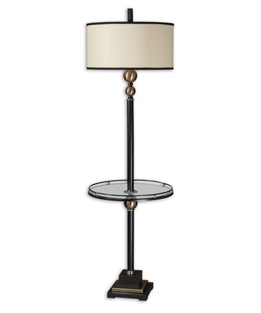 Shown in Black finish and Round Drum shade