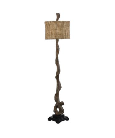 Shown in Weathered Driftwood-Matte Black finish and Burlap Twine-Beige Inner shade