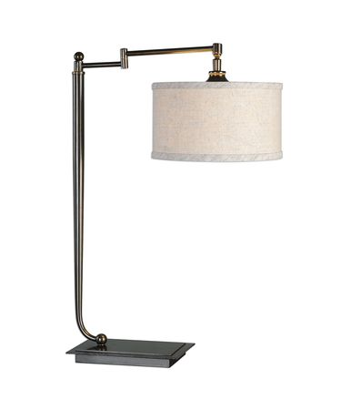 Shown in Dark Bronze-Oxidized Bronze finish and Beige Linen Fabric shade