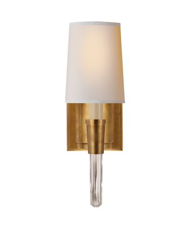 Shown in Hand-Rubbed Antique Brass finish and Natural Paper shade