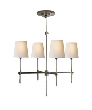 Shown in Antique Nickel finish and Natural Paper shade
