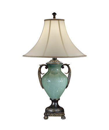 Shown in Blue Green Porcelain finish and Silk shade